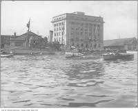 Historic photo from 1917 - Captured German UC97 WWI U-Boat and Toronto Harbour Commission building at the water in Harbourfront