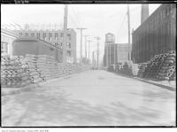 Historic photo from 1915 - Bombs stored on Liberty Street, looking east from Dufferin Street in Liberty Village