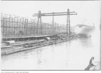 Historic photo from 1916 - Launching the ship Aquilla in Cherry Beach