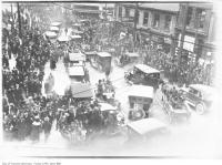 Historic photo from Monday, November 11, 1918 - Armistice Day, Terauley and Queen streets in Downtown