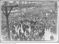 Historic photo from Monday, November 11, 1918 - Crowds celebrating Armistice Day, Yonge and Queen streets in Downtown