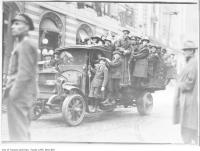 Historic photo from Monday, November 11, 1918 - Celebrating Armistice Day in Downtown