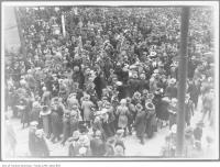 Historic photo from Monday, November 11, 1918 - WWI Armistice Day crowds, Queen and Yonge streets in Downtown