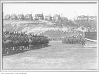 Historic photo from 1916 - Soldiers pass reviewing stand in Greenwood Park in Leslieville