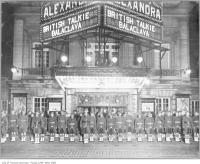 Historic photo from Monday, October 6, 1930 - Royal Alex - Soldiers outside theatre showing silent 1928 British war film Balaclava in King Street West