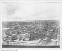 Historic photo from 1910 - Looking north over The Ward from Queen and Bay  in City Hall