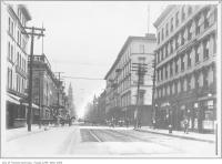 Historic photo from 1908 - Iroquois Hotel on King Street West, looking east from York Street including Palmer House, Imperial Hotel, Prince George Hotel in Financial District