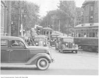 Historic photo from Saturday, September 11, 1937 - Looking south at the Avenue Road bottleneck from St. Clair Avenue West in South Hill