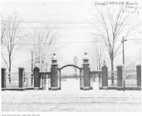 Historic photo from 1916 - Snow on Trinity College gates and trees in Trinity Bellwoods
