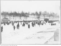 Historic photo from 1913 - Riverdale Park free skating rink with the Necropolis in the background in Riverdale park