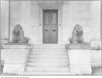 Historic photo from 1930 - Eaton mausoleum with two lions, Mount Pleasant Cemetery in Mount Pleasant Cemetery