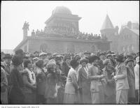 Historic photo from 1927 - Crowd waiting to see Prince of Wales, U. of T. observatory and Hart House in University of Toronto (U of T)