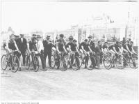 Historic photo from Thursday, September 2, 1926 - Start of bicycle race, CNE won by Bill Elder, 3rd from left in CNE