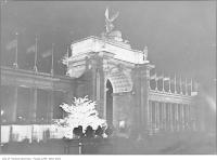 Historic photo from 1927 - Illuminated Princes Gates at night in CNE