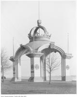Historic photo from 1906 - Independent Order of Foresters arch with crests and crown, moved to the Exhibition grounds in CNE