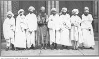 Historic photo from 1920 - Boys in costumes for a Purim spiel (or Purimshpil, a play) - front steps of Holy Blossom Synagogue (1897-1937) in Ryerson