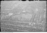 Historic photo from 1930 - Aerial view of Dufferin Race Track and Dufferin Grove Park from the west in Brockton Village