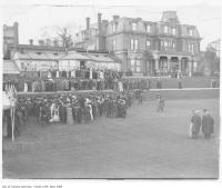 Historic photo from 1909 - Last garden party at Government House, King and Simcoe streets in King Street West