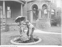 Historic photo from 1912 - Installing a fountain at William J. Gage house on Bloor at Walmer Road in University of Toronto (U of T)