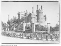 Historic photo from 1914 - Soldiers marching on Walmer Road, past Casa Loma in Casa Loma