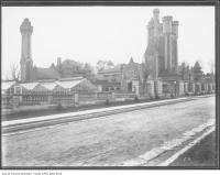 Historic photo from 1911 - Historic photo of the stables and greenhouses at Casa Loma in Casa Loma