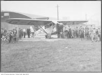 Historic photo from Saturday, May 5, 1928 - Fairchild FC-2 plane carrying first air mail from Leaside in Leaside