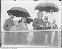 Historic photo from Tuesday, May 5, 1931 - W.A. (Billy) Bishop, V.C., World War I Ace pilot speaking at the opening ceremonies for Barker Field in Lawrence Heights