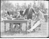 Historic photo from Tuesday, May 5, 1931 - Billy Bishop, V.C., in polka dot tie at the opening ceremonies for Barker Field in Lawrence Heights