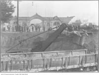 Historic photo from 1908 - Lowering the railway tracks in front of the 1895 Dufferin Street Gates in CNE