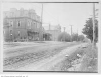 Historic photo from 1909 - Looking north on Yonge Street from Oulcotts Hotel past the Town Hall in North Toronto