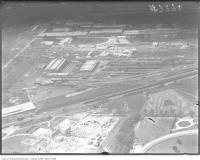 Historic photo from 1920 - Aerial view of Leaside tracks and industrial buildings in Leaside