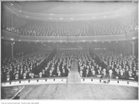 Historic photo from 1919 - Massey Hall interior looking from the stage out to the audience - Street railway strike meeting in Garden District