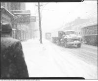 Historic photo from Thursday, January 26, 1961 - King Street West and John Street during snow storm. in King Street West