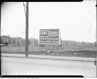 Historic photo from 1951 - Sign announcing the site of the new Goel Tzedec Synagogue (eventually renamed Beth Tzedec Synagogue) in Forest Hill