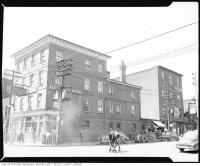 Historic photo from 1945 - Alexandra Hotel - torn down for Nathan Philips Square - 102-104 Queen St. West at Elizabeth Street in City Hall
