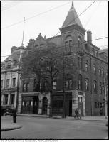 Historic photo from 1945 - Dominion Hotel - front - 498-500 Queen St. East, on the north west corner at Sumach St. in Trefann Court