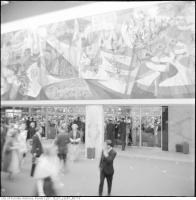 Historic photo from Saturday, October 1, 1960 - Mural and people waiting to enter the grand opening of the Okeefe Centre in St. Lawrence