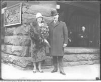 Historic photo from 1935 - Carls-Rite Hotel - Mayor Samuel McBride and wife Frances Jane (with Hotel Carls-Rite sign) in Downtown
