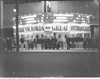 Historic photo from 1939 - Avenue Theatre - People gathered  at night - 680 seats in Forest Hill