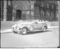 Historic photo from 1931 - 1930 Packard? open top with two windscreens in front of University College in University of Toronto (U of T)