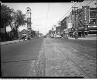 Historic photo from 1960 - Algiers Fine Foods and Firehall on College Street, looking west from east of Brunswick Ave in Harbord Village