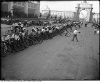 Historic photo from 1930 - Cyclists lined up for race, CNE in CNE