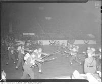 Historic photo from Sunday, June 1, 1941 - Armed forces personnel demonstration at wartime rally, Maple Leaf Gardens in Church-Wellesley Village