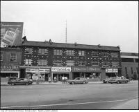Historic photo from 1976 - Row of stores, Bloor Street West, north side, between Spadina Road and Madison Avenue in The Annex