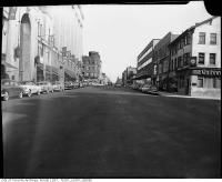 Historic photo from 1950 - Yonge Street, looking north, south of College / Carlton Street with T Eaton store on left in Downtown