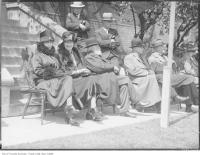 Historic photo from Monday, June 13, 1927 - Mimico Industrial School, Mrs H. G. Baldwin, Mrs Grassett, Bev. Jones, H. C. Gambel, F. Le Grassett in Mimico