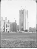 Historic photo from Friday, October 12, 1923 - Hart House tower construction from the north in University of Toronto (U of T)