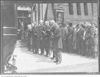 Historic photo from Monday, May 12, 1930 - Magistrate Cohen funeral with honorary pallbearers - outside Holy Blossom Synagogue (1897-1937) in Ryerson