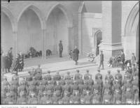 Historic photo from Tuesday, November 11, 1924 - Armistice Day, Hart House, Hon Geo. S. Henry, laying wreath in University of Toronto (U of T)