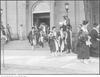 Historic photo from Friday, June 5, 1925 - University Convocation, girls leaving Simcoe Hall in University of Toronto (U of T)